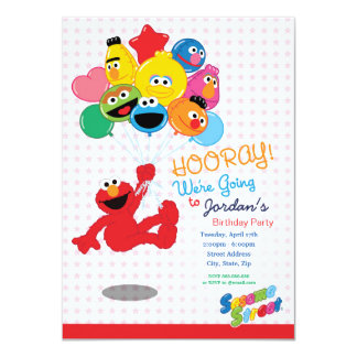 Ballons d'anniversaire d'Elmo et de copains Carton D'invitation 11,43 Cm X 15,87 Cm