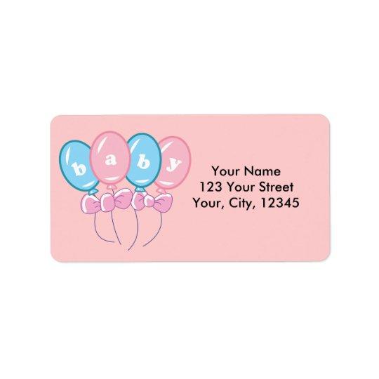 Ballons de bébé étiquettes d'adresse