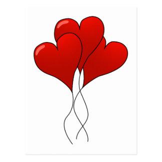Ballons de coeur cartes postales