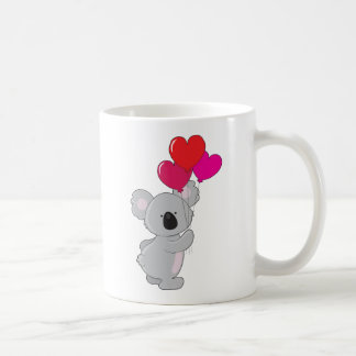 Ballons de coeur de koala mug blanc