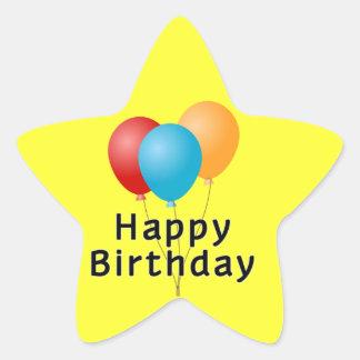 Ballons de joyeux anniversaire sticker étoile