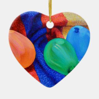 Ballons de l'eau à la plage ornement cœur en céramique
