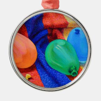 Ballons de l'eau à la plage ornement rond argenté