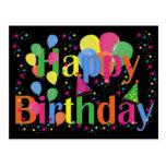 Ballons de partie de joyeux anniversaire cartes postales