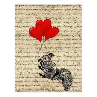 Ballons d'écureuil et de coeur cartes postales
