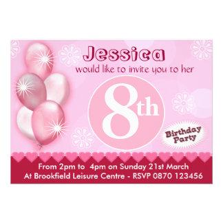 Ballons d'invitation d'anniversaire de filles - to