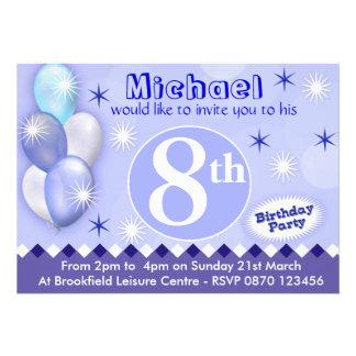 Ballons d'invitation d'anniversaire de garçons - t