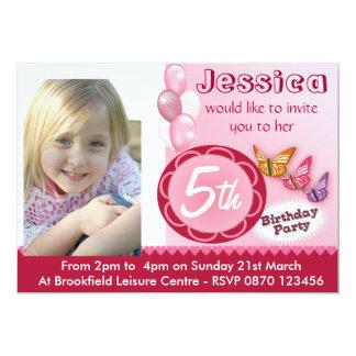 Ballons d'invitation de photo d'anniversaire de carton d'invitation  12,7 cm x 17,78 cm