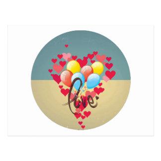 Ballons drôles de Valentine de rétros coeurs Carte Postale