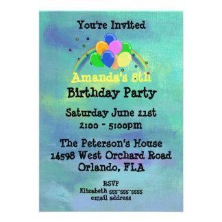 Ballons et fête d'anniversaire customisée par carton d'invitation  12,7 cm x 17,78 cm