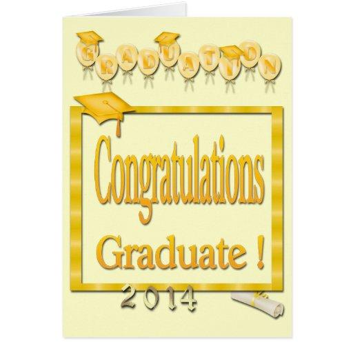 Ballons, obtention du diplôme 2014 jaune de cadre  carte de vœux