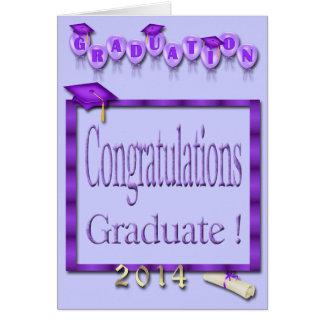 Ballons, obtention du diplôme 2014 pourpre de carte de vœux