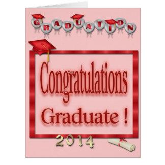Ballons, obtention du diplôme 2014 rouge de cadre carte de vœux grand format