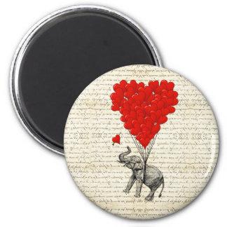 Ballons romantiques d'éléphant et de coeur magnet rond 8 cm