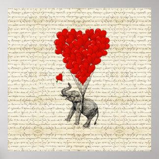 Ballons romantiques d'éléphant et de coeur posters
