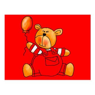 Ballons rouges de l'ours de l'enfant carte postale