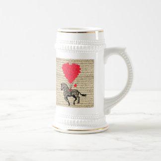 Ballons vintages drôles de zèbre et de coeur chope à bière