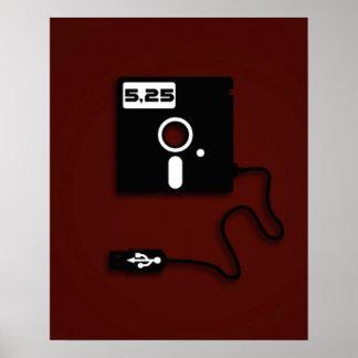 ballot à disque souple de geek d'USB de 5,25 Affiche