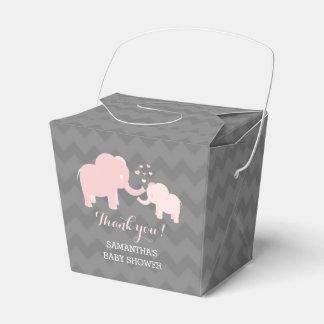 Ballotin rose et gris de baby shower d'éléphant boite de faveur