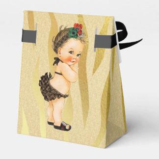 Ballotin vintage de bébé d'impression de zèbre boites faveurs de mariage