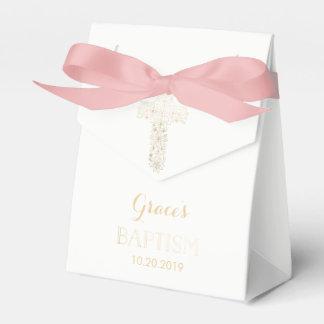 Ballotins Baptême, ballotin de baptême - fille, croix d'or