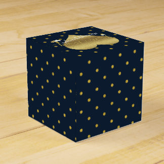Ballotins Boîtes de cadeau de pois de marine et d'or