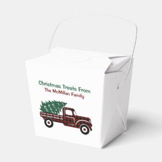 Ballotins Camion rouge et vert EDITABLE d'arbre de Noël de