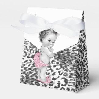 Ballotins de baby shower de léopard de neige boite de faveur