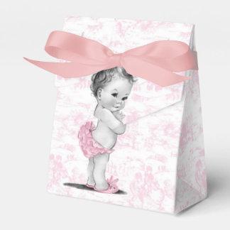 Ballotins roses de baby shower de Toile Boite Faveurs De Mariage