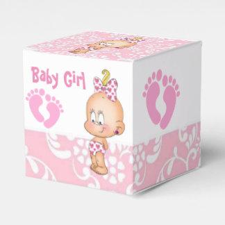 Ballotins roses de bébé et de damassé d'empreintes boites de faveur