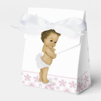 Ballotins roses de douche de bébé d'Afro-américain Boite De Faveur