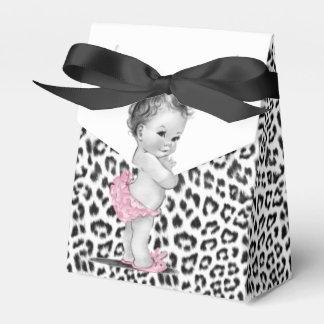 Ballotins roses doux de baby shower de léopard de boite faveurs de mariage
