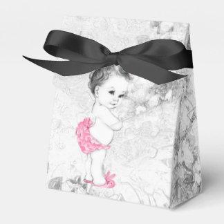 Ballotins roses et gris doux de baby shower boites faveurs de mariage