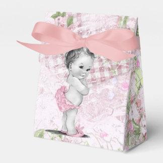 Ballotins roses et verts doux de baby shower boites de faveur