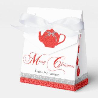 Ballotins Théière rouge de dentelle de thé de Noël