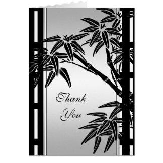 Bambou argenté noir floral asiatique de carte de