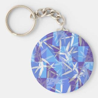 Bambou dans le motif géométrique bleu porte-clés