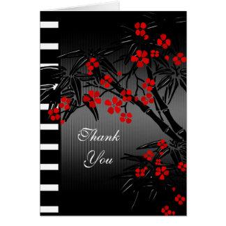 Bambou noir floral rouge asiatique de carte de