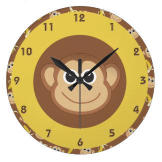 Bananes de singe grande horloge ronde