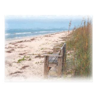 Banc à la peinture d'aquarelle de plage carte postale