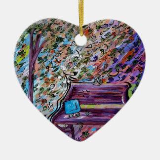 Banc un jour venteux ornement cœur en céramique