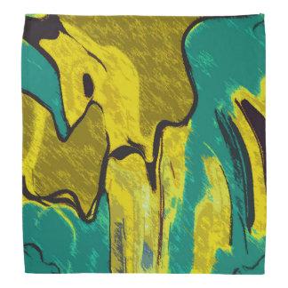Bandana Abrégé sur jaune Teal de moutarde