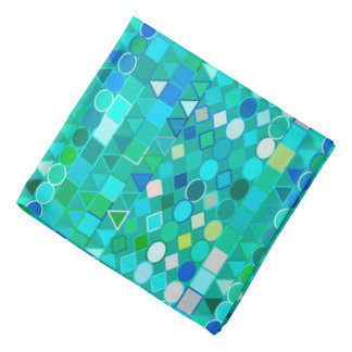 Bandana Aqua tribal moderne géométrique, de mer et bleu en
