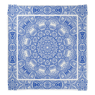 Bandana Beau motif bleu et blanc de tuile de mandala
