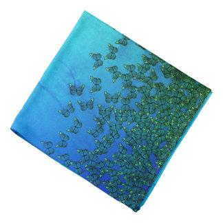 Bandana bleu et vert de motif de papillons,