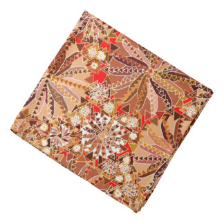 Bandana Copie tribale, Brown, beige et rouge de mandala