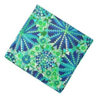 Bandana Copie tribale de mandala, bleu de cobalt et vert