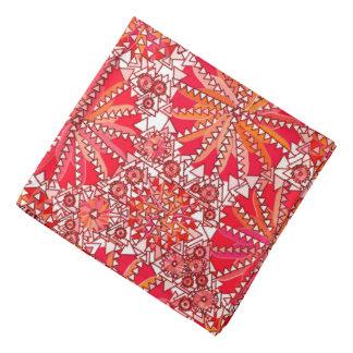 Bandana Copie tribale de mandala, rouge et blanc de corail