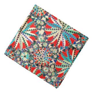 Bandana Copie tribale, rouge, bleu et crème de mandala