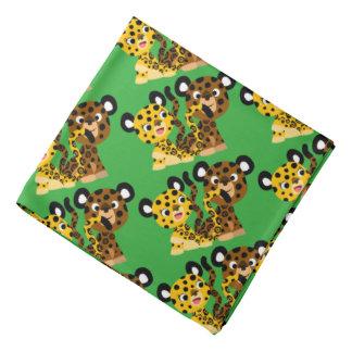 Bandana coquet mignon de jaguars de bande dessinée